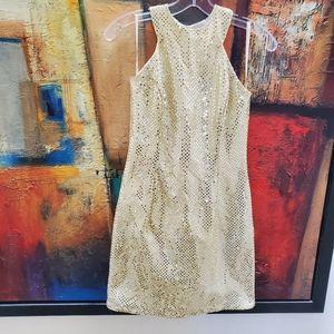 Jessica McClintock Gold Sequin Party Dress